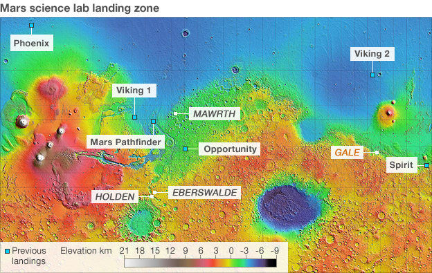 mars rover landing map - photo #1