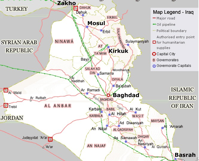map of iraqs oil pipelines click on image for larger view