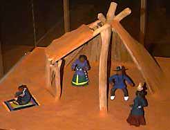 Native american plank house model