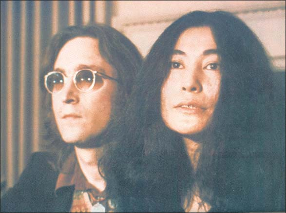 John Lennon and Yoko Ono at their Nutopia press conference 1974